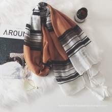 Wholesale senhora moda algodão com borla longo estilo cachecol muçulmano hijab