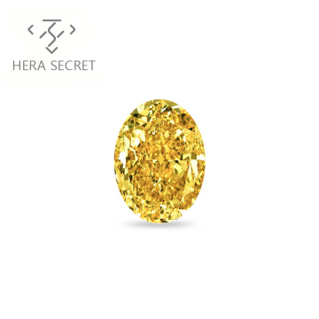 ForeverFlame  fancy yellow 4.5ct 8mm*12mm vvs Oval Cut diamond CVD CZ Moissanite haute couture 18K Pt950 Color ring