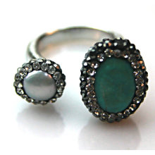 Fashion Stainless Steel Silver-Platting Turquoise Stone Ring Rings Jewelry