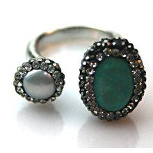 Art- und WeiseEdelstahl-Silber-Überzug-Türkis-Steinring-Ring-Schmucksachen