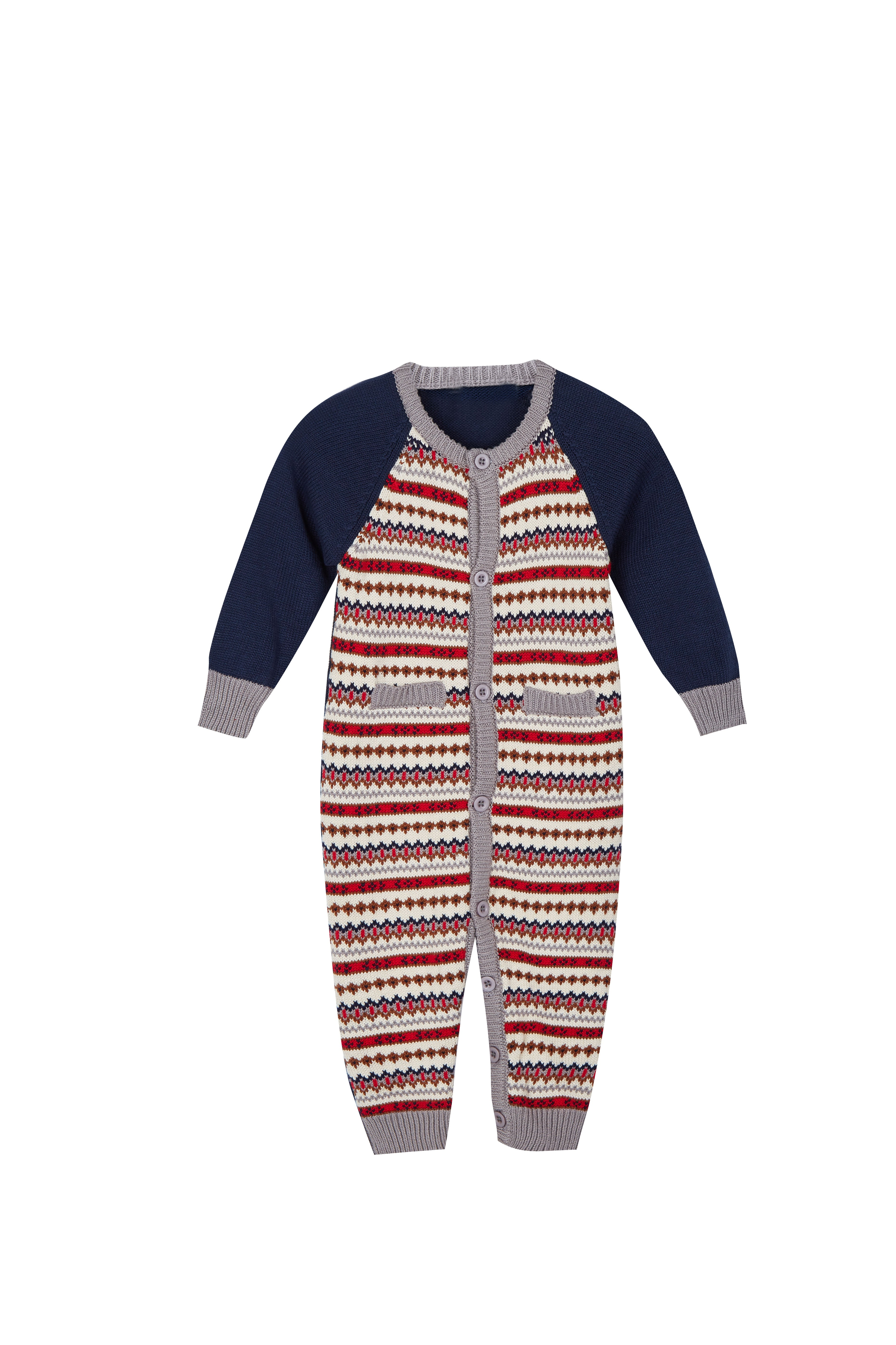 Baby's Warm Jacquard Pajamas Button Closure Crew Neck Sweater