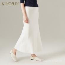 100% Wolle bunter Frauen-langer Rock-Damen-klassischer hoher Taillen-gestrickter Rock Maed in China