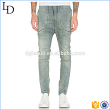 Zippered leg opening Wash biker jeans for man clothing trousers