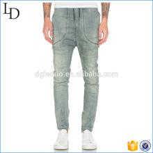 Abertura de perna com zíper Lavar jeans biker para calças de homem