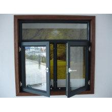 Fenêtre à battant en aluminium à double panneau avec obturateur interne