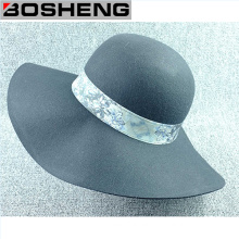 Decorative Pattern Ribbon Wool Dome Wide Brim Hat