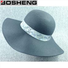 Decorativo Padrão Fita Lã Dome Wide Brim Hat