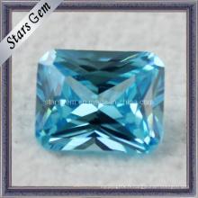 Aqua Blue Princess Cut Synthétique CZ Gemstone