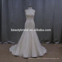 Crystal sequin ready made robes de mariée 2015 sirène robe de mariée hongkong