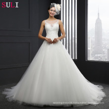 MZ-014 O-neck Lace Up Appliques Sleeveless Wedding Dress