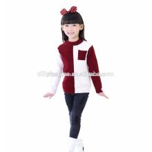 Контраст цвета кашемир круглый шеи ребра вязать свитер конструкций для девочек