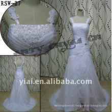 RSW-27 2011 Hot Sell New Design Ladies Fashionable Elegant Customized Beautiful Removable Shoulder Straps Organza Bridal Dress