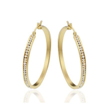 Boucles d'oreilles rondes en or pour les femmes, boucle d'oreille en cristal d'or