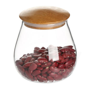 Glass Cylinder Airtight Container with wooden lid