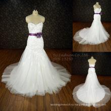 2016 элегантное свадебное платье русалка без рукавов новый свадебное платье последние дизайнерские спинки свадебное платье фиолетовый цветок атласная лента