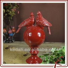 Decoração casa bola com dois pássaros DOD161-13R vermelho