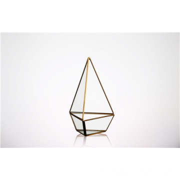 Clear Geometric Glass Terrarium Lantern Tabletop
