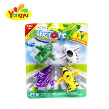 4pcs plastic mini powered pull back plane toy for kids