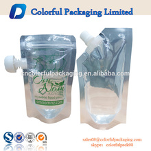 2016 High quanlity food plastic bag drink pouches manufacturers stand up bag with spout