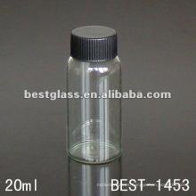 Botella de vidrio transparente / transparente de 20 ml con tapa negra