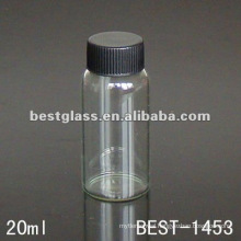 20ml clear/transparent tube glass bottle with black cap