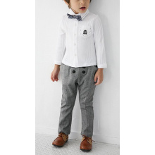 Boy's long sleeve white dress shirt with bowtie