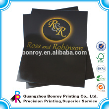 China supplier cardboard golden embossing A2 size folder