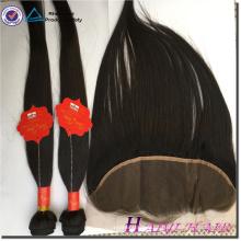 Estilo reto do cabelo indiano do Virgin 13 * 6 partes frontais do laço com pacote