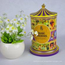 Caixa de presente de lata de cores misturadas elegante com padrão