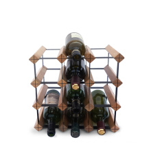 Wholesale 12 Bottle  Brown Color Wood and Metal Timber Wine Rack