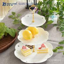 Platos de pastel blanco y Servidor de postres / Cerámica 3 Placas de grano / Servilleta de grano de porcelana