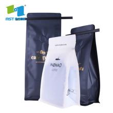 sac de grains de café en papier à soufflet latéral avec valve et fermeture éclair
