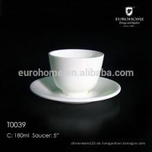 Knochenporzellan-Kaffeetasse mit Untertasse und einzigartige Sorte keramische Schale und Knochenporzellan-Schale