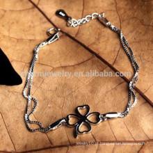 CYL004 100% 925 pulseiras de prata esterlina para mulheres com quatro folhas Clover charme duplo 18K White Gold cadeia de jóias pulseiras
