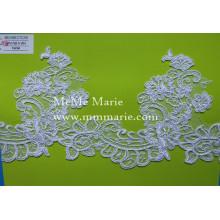 Кружевная ткань Белый кружево вышивка отделкой с цветочным кружева scoop шеи CTC376