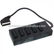 21pin Scart plug to 5 x 21pin Scart jacks box 30cm(dvd.video,dvd-r,versterker,game control)