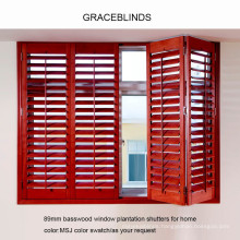 Interior basswood and PVC shutter with 63mm and 89mm blade made in China
