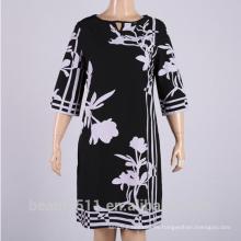 Vestido de gasa mangas-impreso de manga larga estilo verano caliente PS07