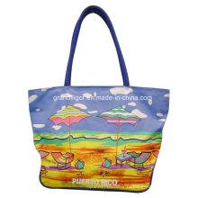 Хозяйственная сумка из хлопка для дам с пляжной печатью