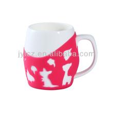 600cc керамические простой белый кружка кофе с силиконовый рукав
