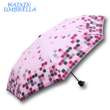 Marketing Gift Items Promotion Heart Transfer Printing Colorful Lattice Pattern Fashion Innovative Umbrella Foldable for Women
