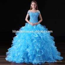 Elegante azul Puffy Ball Gown Ladies Party Patrones de encaje vestido de noche