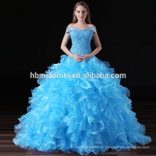 Elégant bleu Puffy Ball robe Party Ladies Patterns de robe de soirée en dentelle