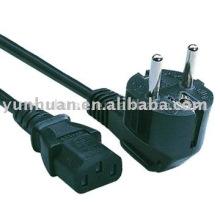 Cables de alimentación Europea, cable de goma de PVC aprobación del VDE