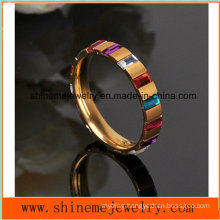 Stainless Steel Ring Zirconium Square Stone Gold Plated Jewelry Ring (CZR2569)