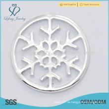 Heißer Verkauf personifizierte Schneeflocke reine silberne freie Medaillon-Plattenschmucksachen