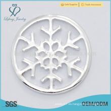 La venta caliente personalizó la joyería clara plateada plata pura de la placa de los lockets del copo de nieve