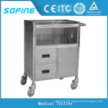 SF-HJ3070 hospital ues carro de anestesia de acero inoxidable
