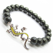 Hématite 8MM perles rondes Stretch Gemstone Bracelet avec Diamante alliage lézard Piece