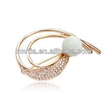 Gold lapel pin brooch opal rhinestone brooch wholesale costume jewelry